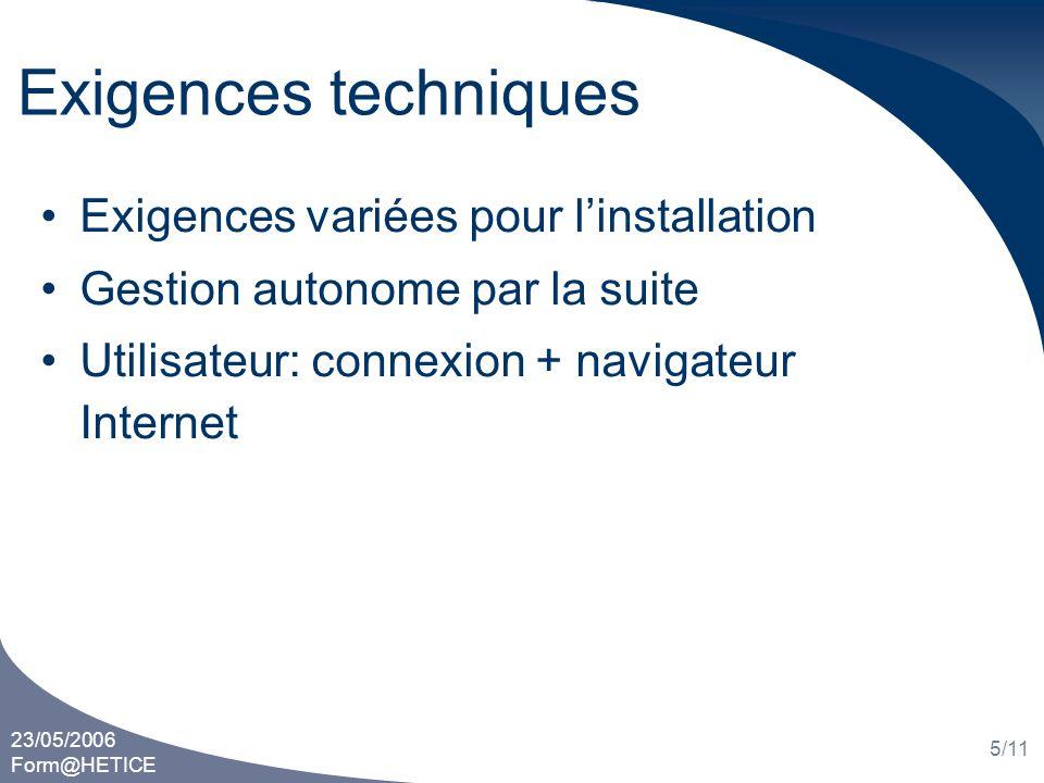 23/05/2006 Form@HETICE 5/11 Exigences techniques Exigences variées pour linstallation Gestion autonome par la suite Utilisateur: connexion + navigateu