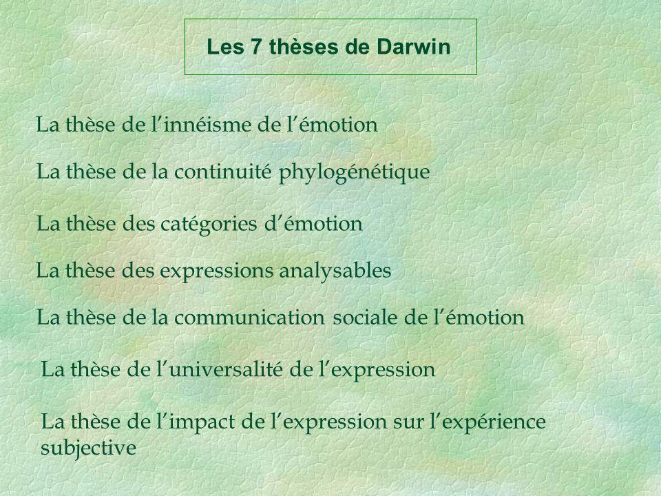 Les 7 thèses de Darwin La thèse de linnéisme de lémotion La thèse de la continuité phylogénétique La thèse des catégories démotion La thèse des expres