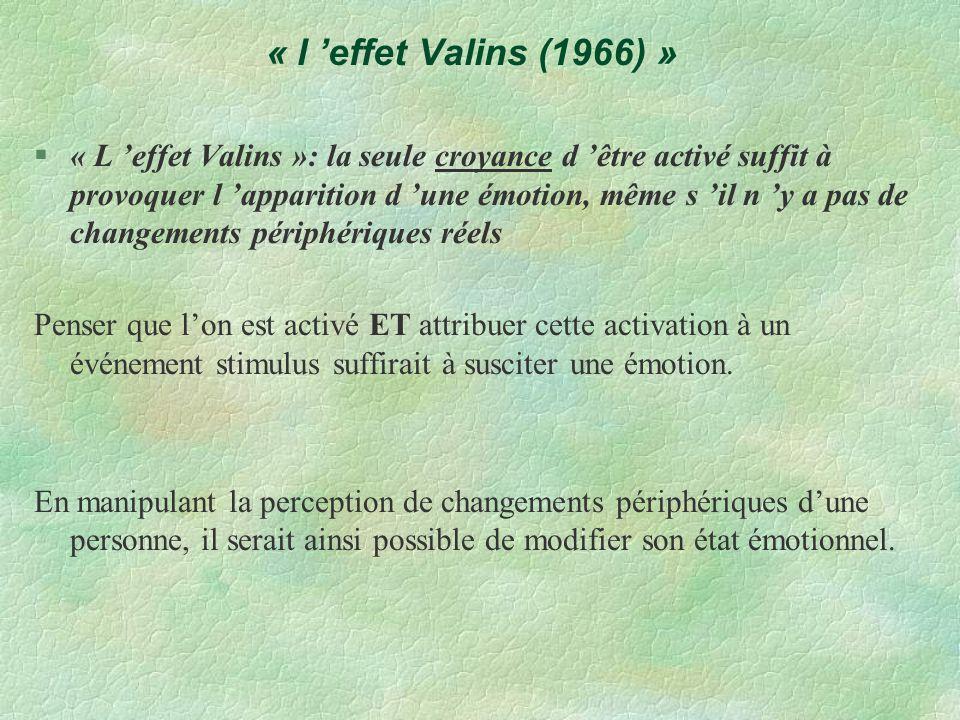 « l effet Valins (1966) » §« L effet Valins »: la seule croyance d être activé suffit à provoquer l apparition d une émotion, même s il n y a pas de c