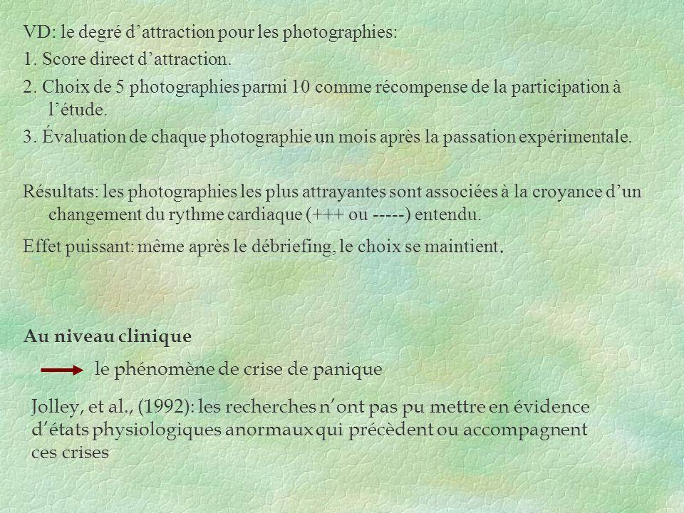 VD: le degré dattraction pour les photographies: 1. Score direct dattraction. 2. Choix de 5 photographies parmi 10 comme récompense de la participatio