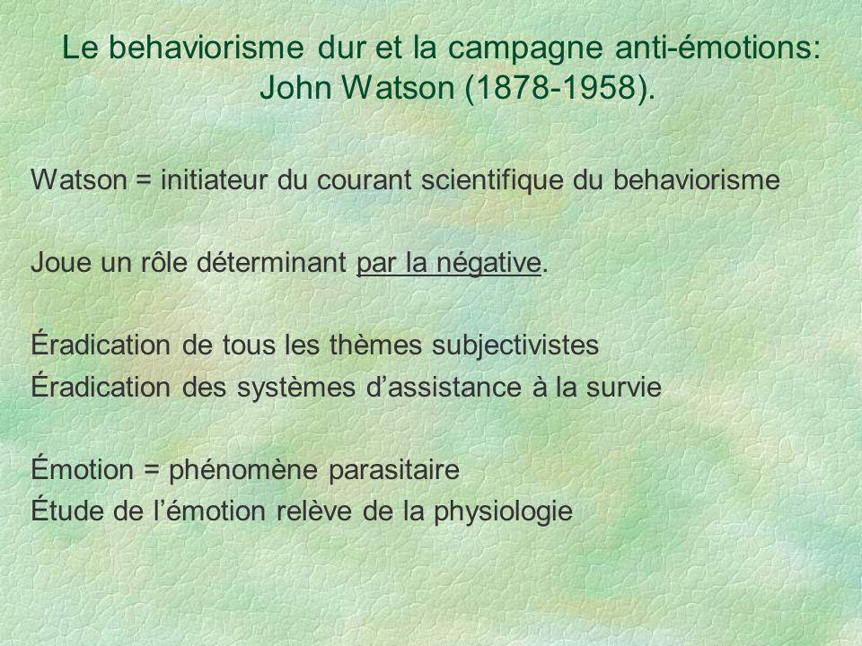 Le behaviorisme dur et la campagne anti-émotions: John Watson (1878-1958). Watson = initiateur du courant scientifique du behaviorisme Joue un rôle dé
