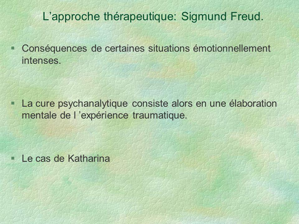 Lapproche thérapeutique: Sigmund Freud. Conséquences de certaines situations émotionnellement intenses. La cure psychanalytique consiste alors en une