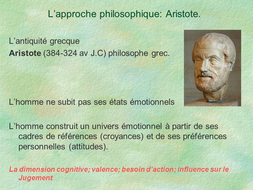 Lapproche philosophique: Aristote. Lantiquité grecque Aristote (384-324 av J.C) philosophe grec. Lhomme ne subit pas ses états émotionnels Lhomme cons