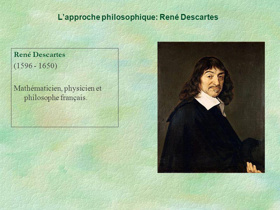 Lapproche philosophique: René Descartes René Descartes (1596 - 1650) Mathématicien, physicien et philosophe français.