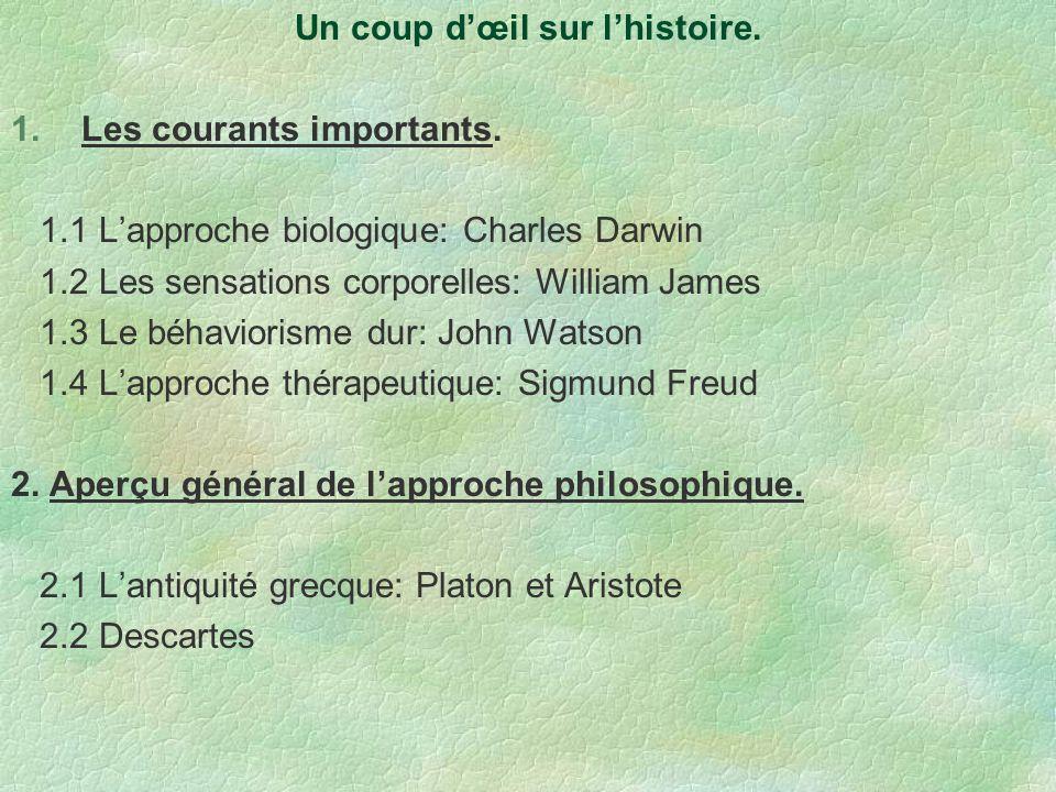 Un coup dœil sur lhistoire. 1.Les courants importants. 1.1 Lapproche biologique: Charles Darwin 1.2 Les sensations corporelles: William James 1.3 Le b