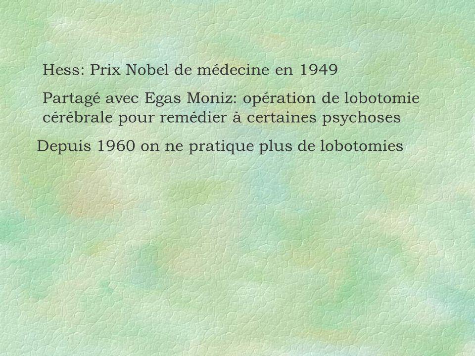 Hess: Prix Nobel de médecine en 1949 Partagé avec Egas Moniz: opération de lobotomie cérébrale pour remédier à certaines psychoses Depuis 1960 on ne p