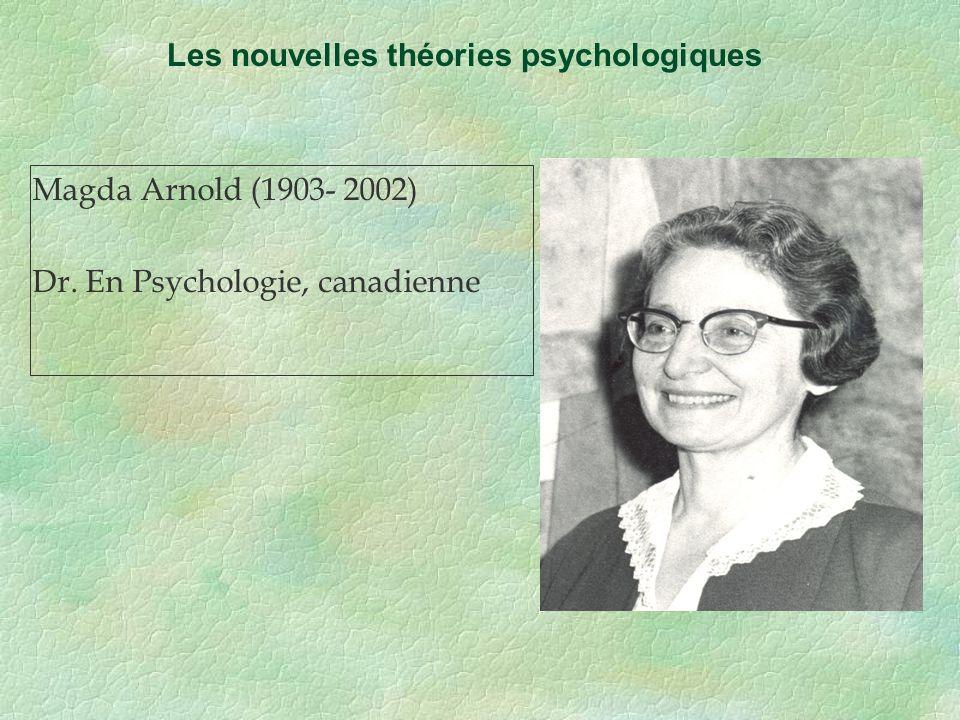 Magda Arnold (1903- 2002) Dr. En Psychologie, canadienne Les nouvelles théories psychologiques