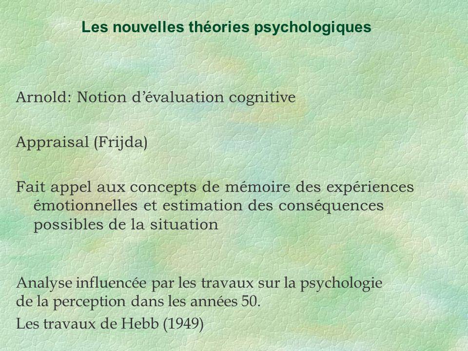 Arnold: Notion dévaluation cognitive Appraisal (Frijda) Fait appel aux concepts de mémoire des expériences émotionnelles et estimation des conséquence