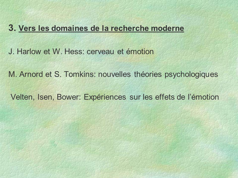 3. Vers les domaines de la recherche moderne J. Harlow et W. Hess: cerveau et émotion M. Arnord et S. Tomkins: nouvelles théories psychologiques Velte
