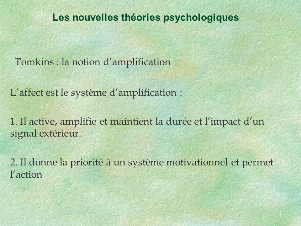 Tomkins : la notion damplification Les nouvelles théories psychologiques Laffect est le système damplification : 1. Il active, amplifie et maintient l