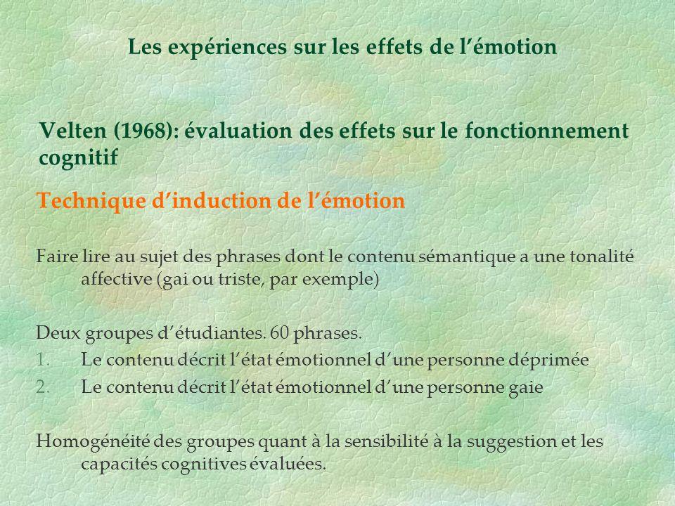 Velten (1968): évaluation des effets sur le fonctionnement cognitif Technique dinduction de lémotion Faire lire au sujet des phrases dont le contenu s
