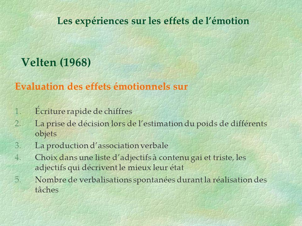 Velten (1968) Evaluation des effets émotionnels sur 1.Écriture rapide de chiffres 2.La prise de décision lors de lestimation du poids de différents ob