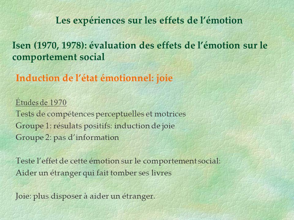 Isen (1970, 1978): évaluation des effets de lémotion sur le comportement social Induction de létat émotionnel: joie Études de 1970 Tests de compétence
