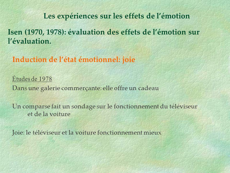 Isen (1970, 1978): évaluation des effets de lémotion sur lévaluation. Induction de létat émotionnel: joie Études de 1978 Dans une galerie commerçante: