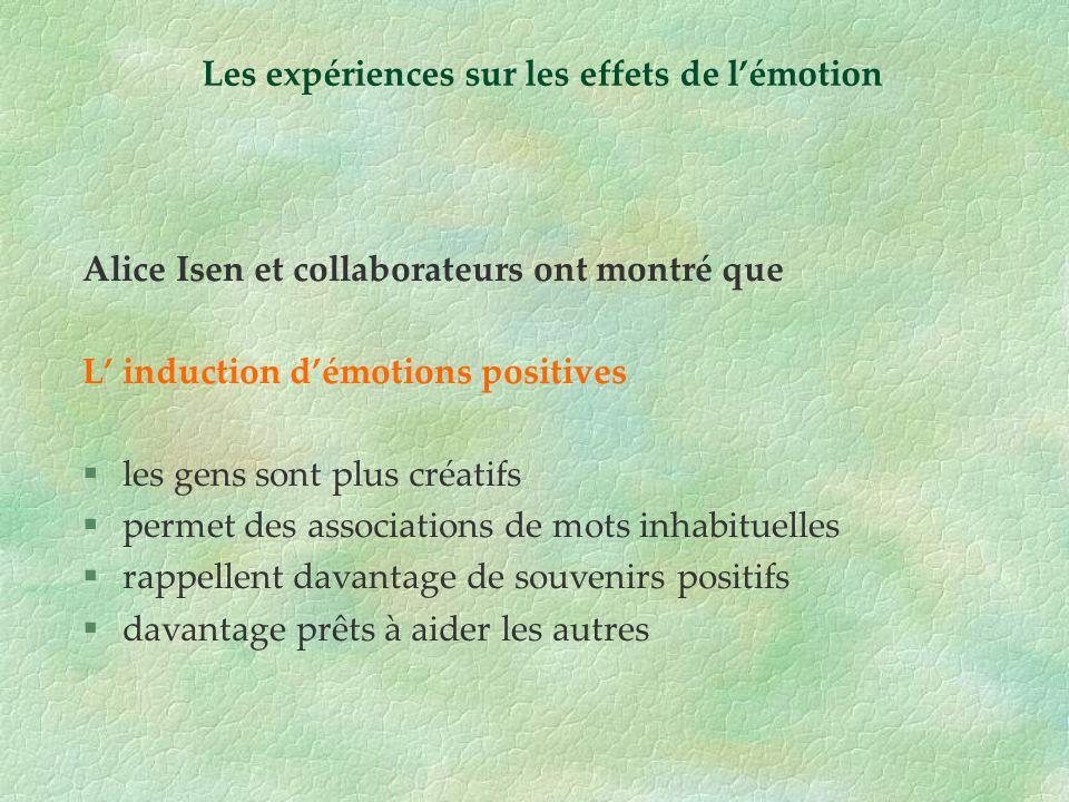 Alice Isen et collaborateurs ont montré que L induction démotions positives §les gens sont plus créatifs §permet des associations de mots inhabituelle