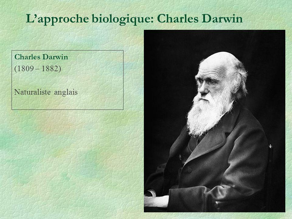 Lapproche biologique: Charles Darwin Théorie évolutionniste de lémotion Charles Bell (1806) « anatomie et philosophie de lexpression » « The Origin of Species (1859) » = description de sa théorie de lévolution.