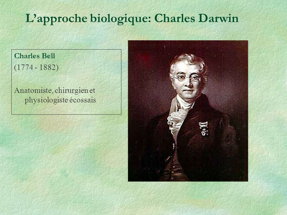 Charles Bell (1774 - 1882) Anatomiste, chirurgien et physiologiste écossais Lapproche biologique: Charles Darwin