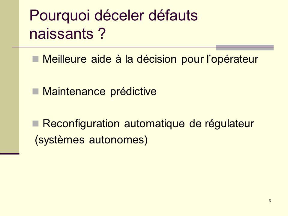 6 Pourquoi déceler défauts naissants ? Meilleure aide à la décision pour lopérateur Maintenance prédictive Reconfiguration automatique de régulateur (