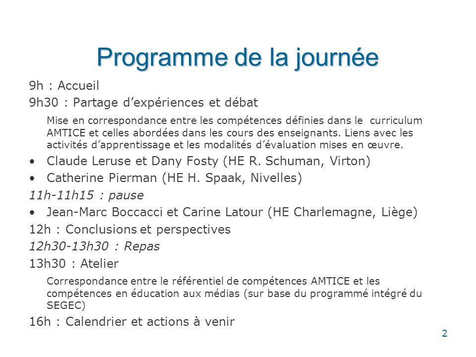 Programme de la journée 9h : Accueil 9h30 : Partage dexpériences et débat Mise en correspondance entre les compétences définies dans le curriculum AMT