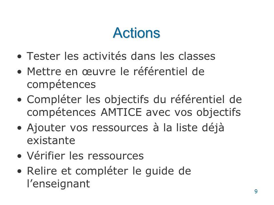 Actions Tester les activités dans les classes Mettre en œuvre le référentiel de compétences Compléter les objectifs du référentiel de compétences AMTI