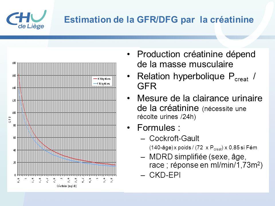 Estimation de la GFR/DFG par la créatinine Production créatinine dépend de la masse musculaire Relation hyperbolique P creat / GFR Mesure de la claira