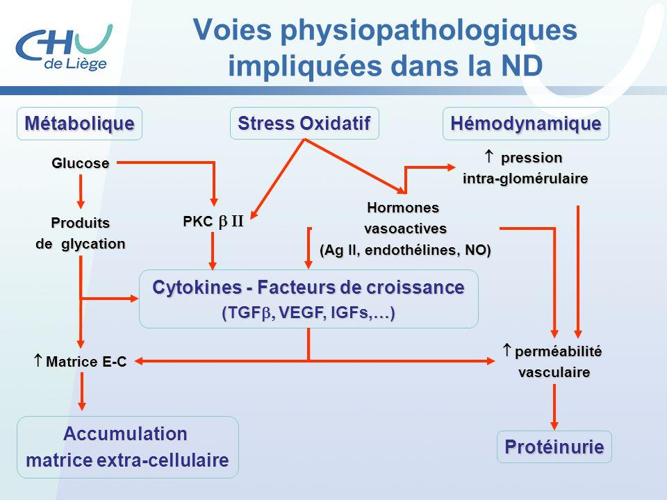Glucose Hormonesvasoactives (Ag II, endothélines, NO) MétaboliqueHémodynamique Protéinurie Accumulation matrice extra-cellulaire pression pressionintr