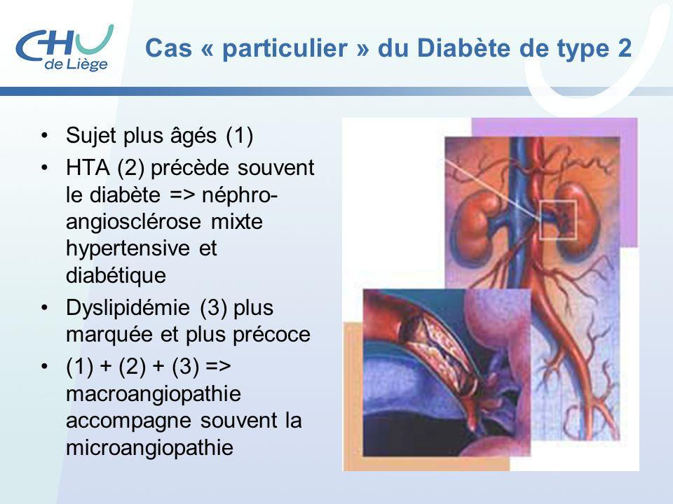 Cas « particulier » du Diabète de type 2 Sujet plus âgés (1) HTA (2) précède souvent le diabète => néphro- angiosclérose mixte hypertensive et diabéti