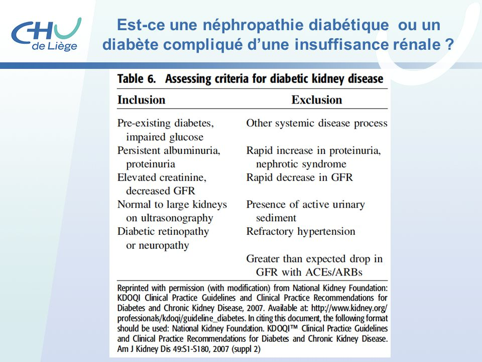 Est-ce une néphropathie diabétique ou un diabète compliqué dune insuffisance rénale ?