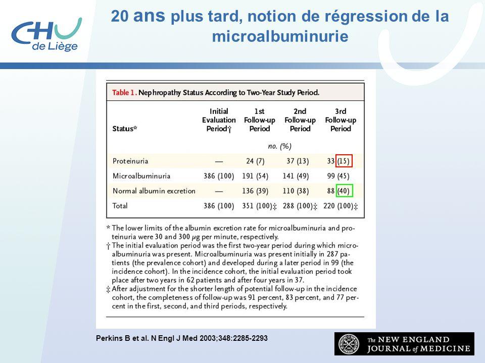 Perkins B et al. N Engl J Med 2003;348:2285-2293 20 ans plus tard, notion de régression de la microalbuminurie