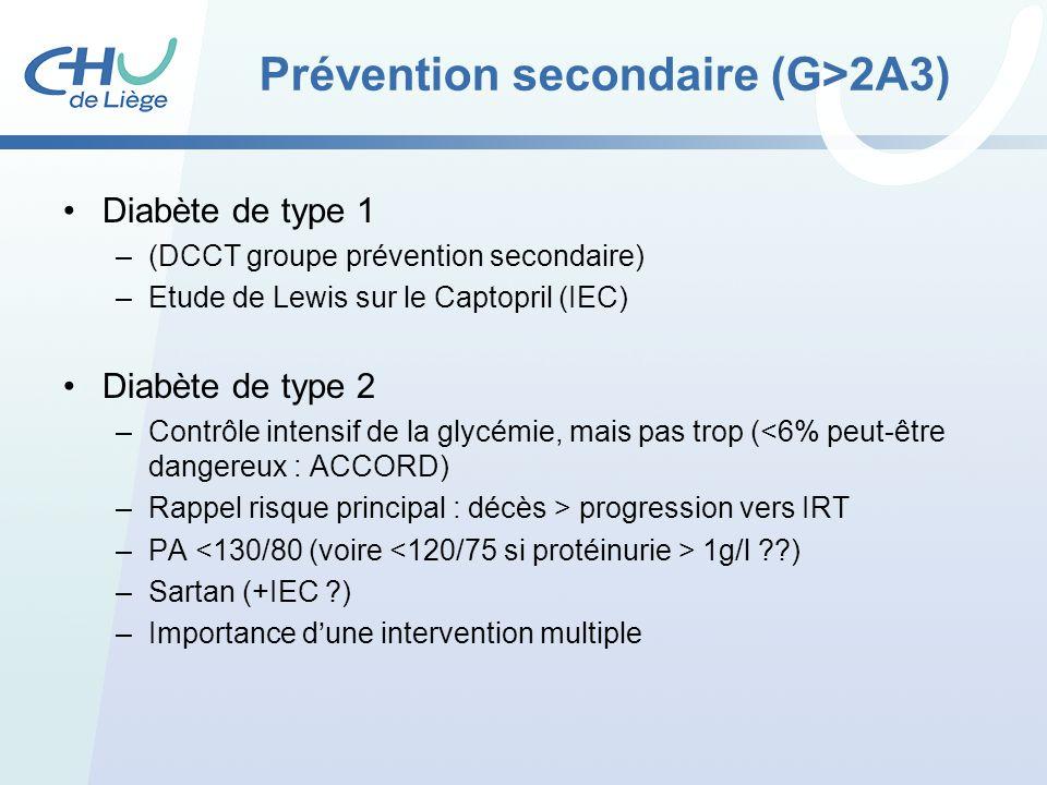 Prévention secondaire (G>2A3) Diabète de type 1 –(DCCT groupe prévention secondaire) –Etude de Lewis sur le Captopril (IEC) Diabète de type 2 –Contrôl
