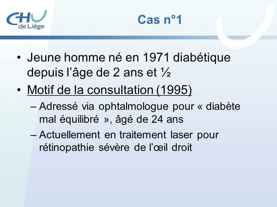 Cas n°1 Jeune homme né en 1971 diabétique depuis lâge de 2 ans et ½ Motif de la consultation (1995) –Adressé via ophtalmologue pour « diabète mal équi