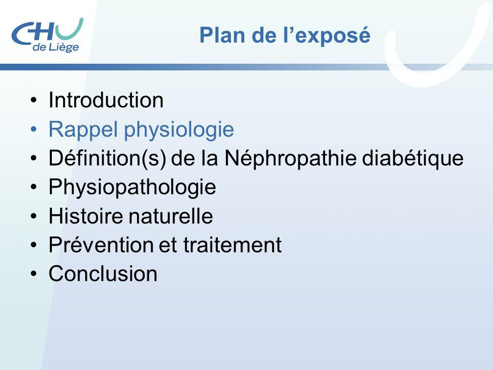 Plan de lexposé Introduction Rappel physiologie Définition(s) de la Néphropathie diabétique Physiopathologie Histoire naturelle Prévention et traiteme
