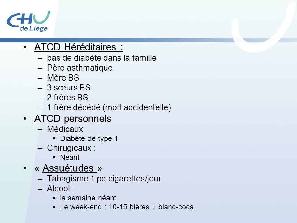 ATCD Héréditaires : –pas de diabète dans la famille –Père asthmatique –Mère BS –3 sœurs BS –2 frères BS –1 frère décédé (mort accidentelle) ATCD perso