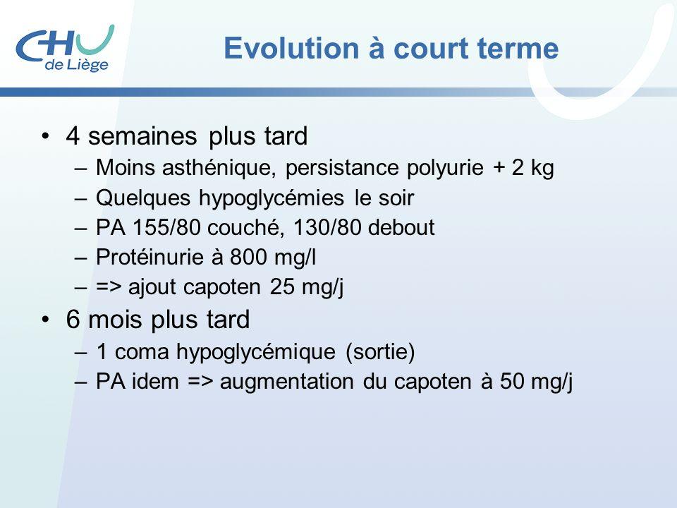 Evolution à court terme 4 semaines plus tard –Moins asthénique, persistance polyurie + 2 kg –Quelques hypoglycémies le soir –PA 155/80 couché, 130/80