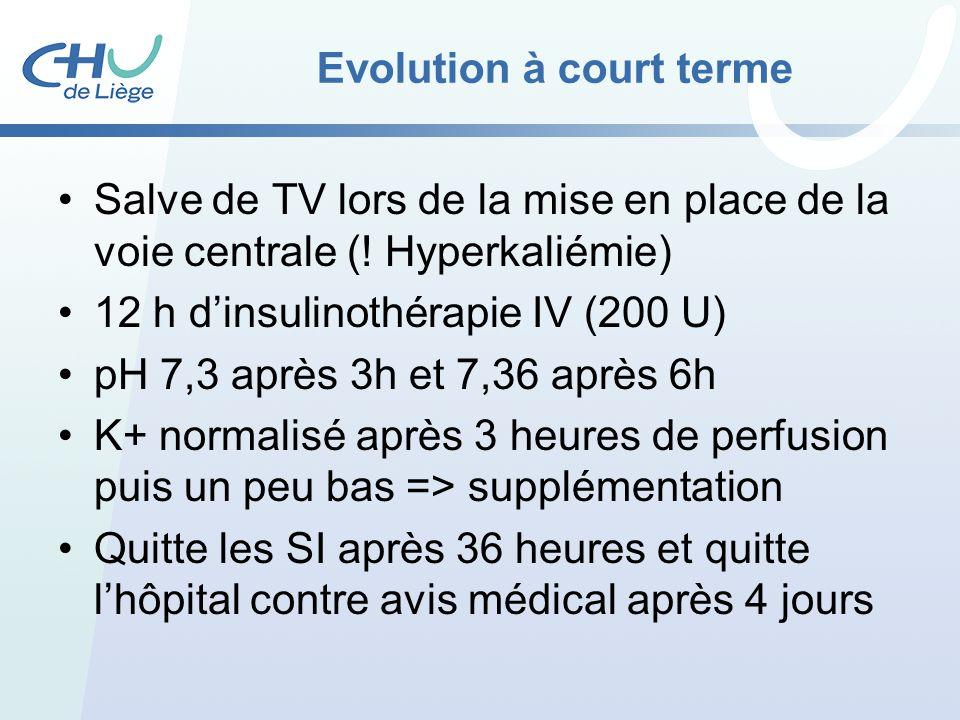 Evolution à court terme Salve de TV lors de la mise en place de la voie centrale (! Hyperkaliémie) 12 h dinsulinothérapie IV (200 U) pH 7,3 après 3h e