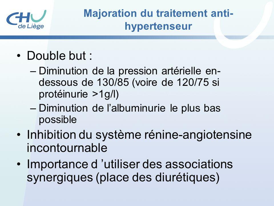 Majoration du traitement anti- hypertenseur Double but : –Diminution de la pression artérielle en- dessous de 130/85 (voire de 120/75 si protéinurie >