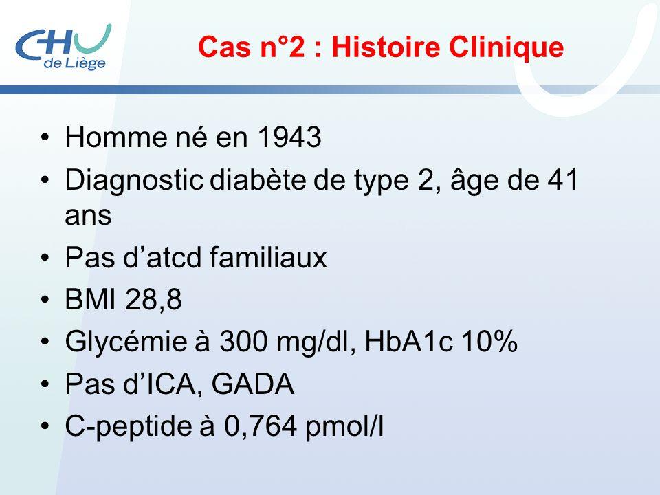 Cas n°2 : Histoire Clinique Homme né en 1943 Diagnostic diabète de type 2, âge de 41 ans Pas datcd familiaux BMI 28,8 Glycémie à 300 mg/dl, HbA1c 10%