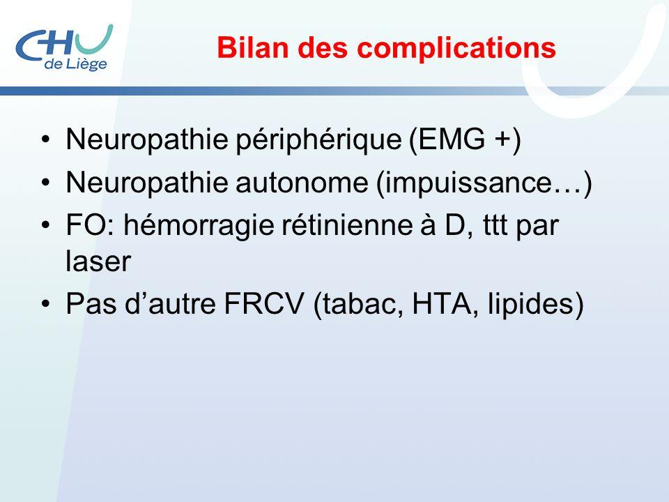 Bilan des complications Neuropathie périphérique (EMG +) Neuropathie autonome (impuissance…) FO: hémorragie rétinienne à D, ttt par laser Pas dautre F