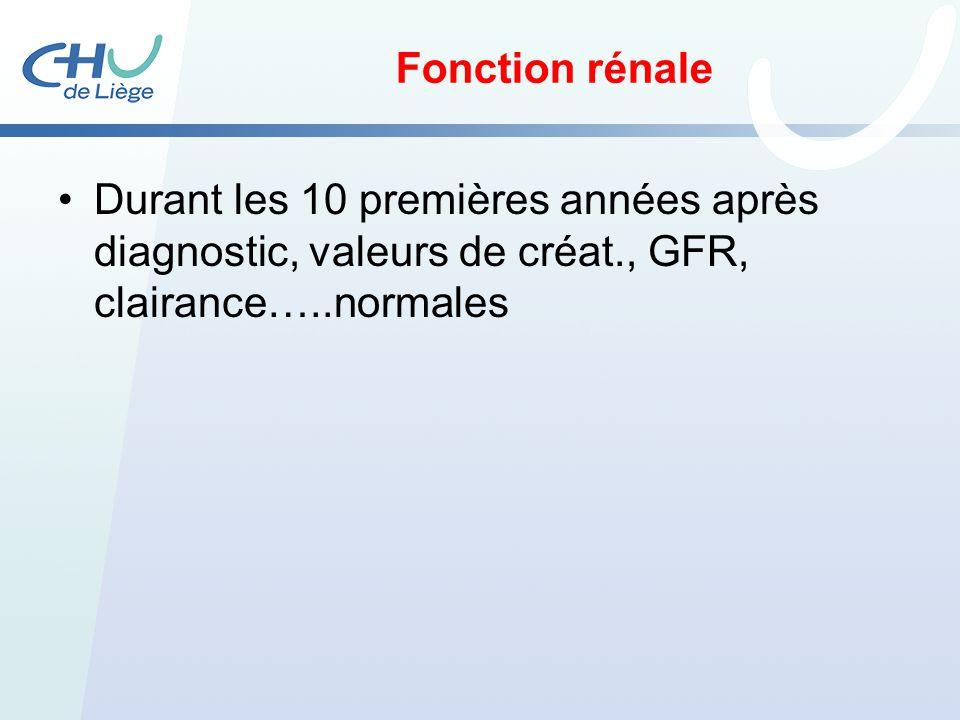 Fonction rénale Durant les 10 premières années après diagnostic, valeurs de créat., GFR, clairance…..normales