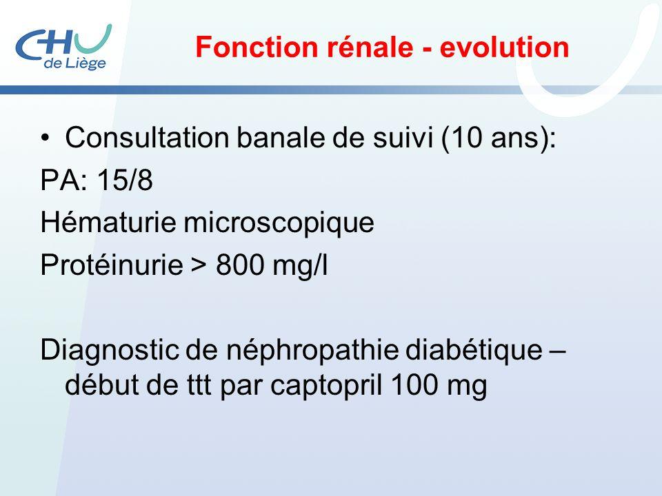 Fonction rénale - evolution Consultation banale de suivi (10 ans): PA: 15/8 Hématurie microscopique Protéinurie > 800 mg/l Diagnostic de néphropathie
