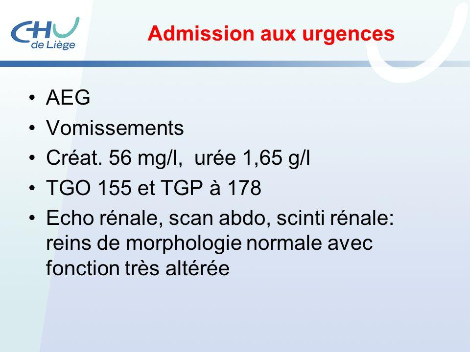 Admission aux urgences AEG Vomissements Créat. 56 mg/l, urée 1,65 g/l TGO 155 et TGP à 178 Echo rénale, scan abdo, scinti rénale: reins de morphologie