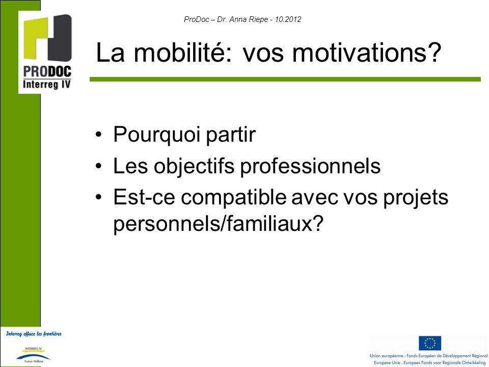 ProDoc – Dr. Anna Riepe - 10.2012 La mobilité: vos motivations.
