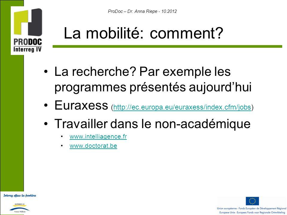 ProDoc – Dr. Anna Riepe - 10.2012 La mobilité: comment.