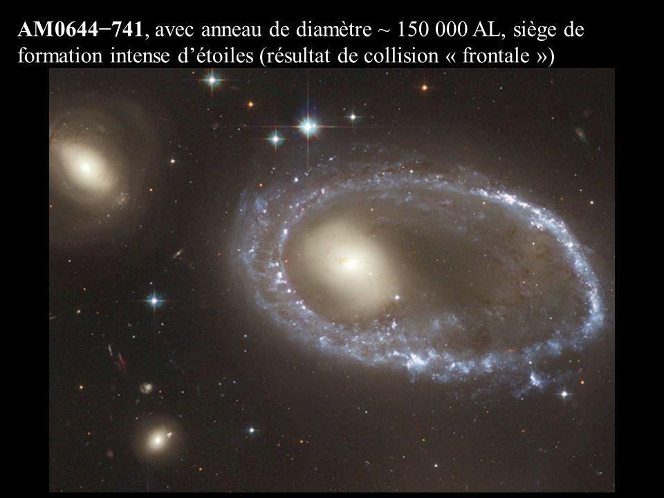 AM0644741, avec anneau de diamètre ~ 150 000 AL, siège de formation intense détoiles (résultat de collision « frontale »)
