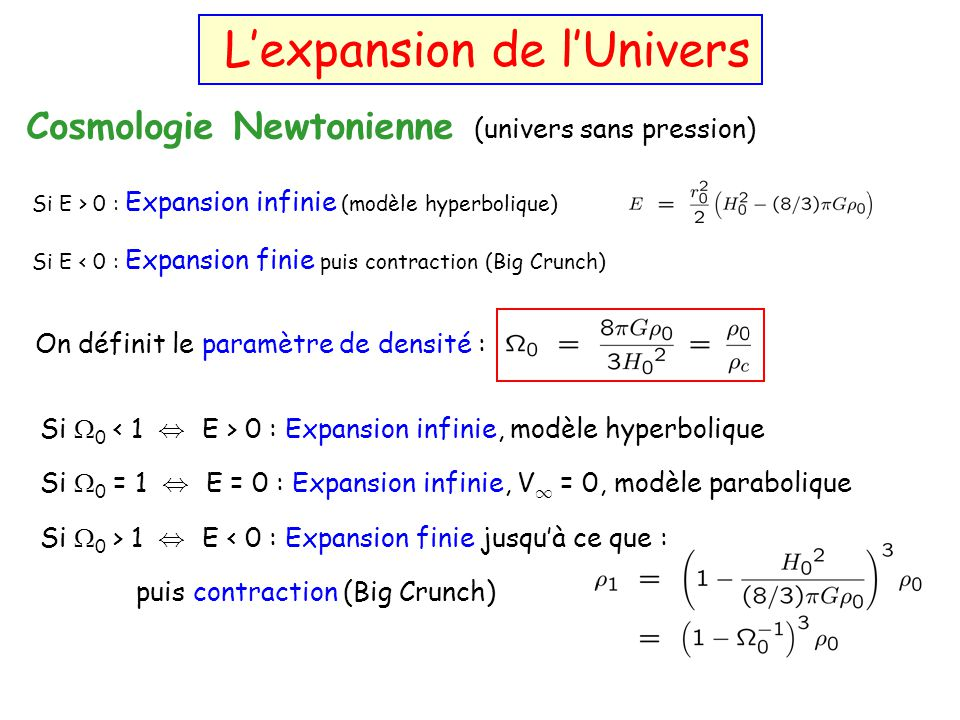 Relativité générale : Lexpansion de lUnivers Cosmologie Newtonienne (univers sans pression) Si E > 0 : Expansion infinie (modèle hyperbolique) Si E <