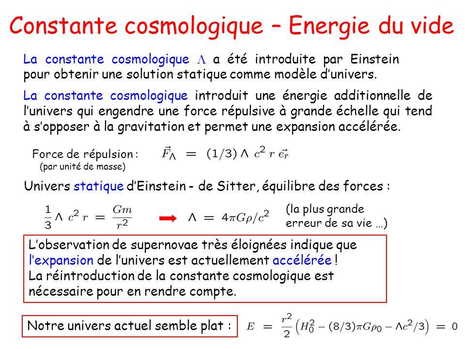 Constante cosmologique – Energie du vide La constante cosmologique introduit une énergie additionnelle de lunivers qui engendre une force répulsive à