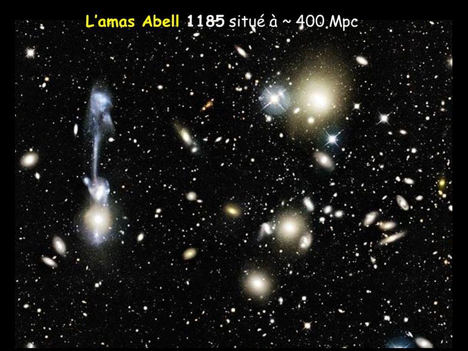 Grandes structures Distribution des galaxies à grande échelle Les amas de galaxies se regroupent en superamas « surfaces » irrégulières (walls) entourant des « bulles » presque vides (taille ~ 1 Mpc) La distance est déduite du décalage spectral vers le rouge