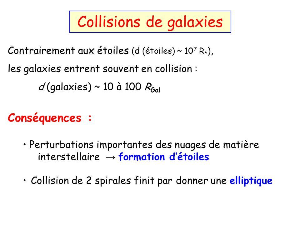 Contrairement aux étoiles (d (étoiles) ~ 10 7 R * ), les galaxies entrent souvent en collision : d (galaxies) ~ 10 à 100 R Gal Conséquences : Perturba