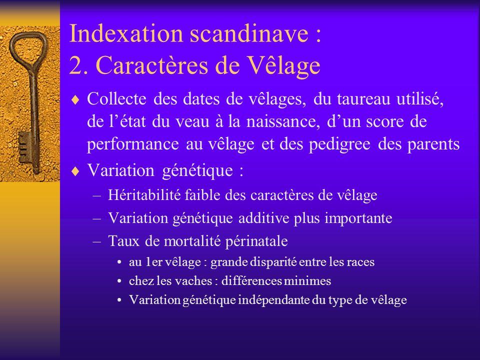 Indexation scandinave : 2. Caractères de Vêlage Collecte des dates de vêlages, du taureau utilisé, de létat du veau à la naissance, dun score de perfo
