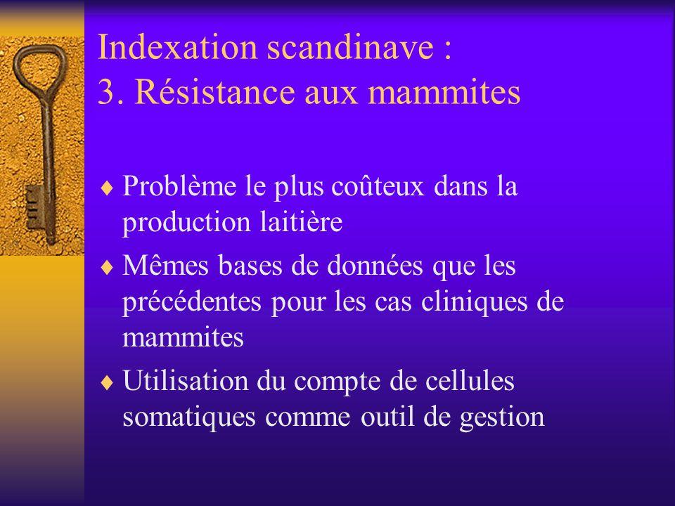 Indexation scandinave : 3. Résistance aux mammites Problème le plus coûteux dans la production laitière Mêmes bases de données que les précédentes pou